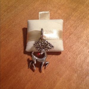 Brighton silver and red nose reindeer charm NWOT